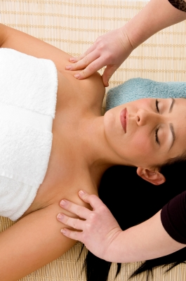 lady face up massage or energy med